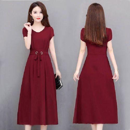 Mid-length Over-the-knee Long Skirt With Belt Slim Slim A-line Dress