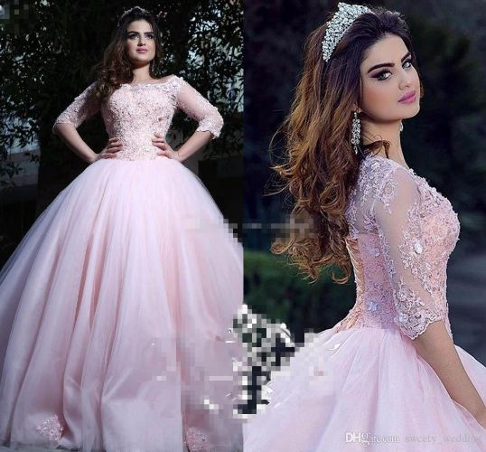 Modest Pink Ball Gown Quinceanera Dresses Bateau Neck 3/4 Long Sleeves Appliques Lace Tulle Corset Lace Up Sweet 16 Dresses Prom Dresses