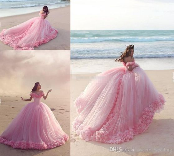 New Puffy 2018 Pink Quinceanera Gowns Princess Cinderella Formal Long Ball Gown Bridal Party Dresses Chapel Train Off Shoulder 3D Flowers