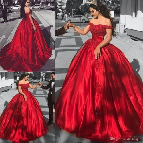 Red Off Shoulder Ball Gown Quinceanera Dresses Beaded Appliques Girls Party Gown 2019 Burgundy Evening Prom Dress BA9174