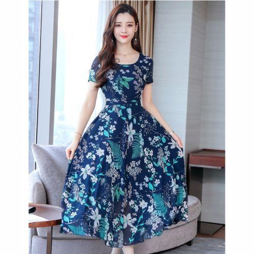 Round Neck Pleated Waist Fashionable Print Dress