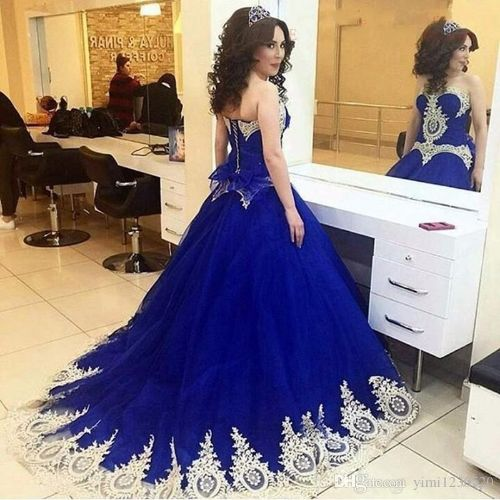 Saudi Arabic Royal Blue Quinceanera Dresses Sweet Heart Sweep Train Gold Appliques Prom Party Gowns For Sweet 15 vestidos de 15 anos 2019