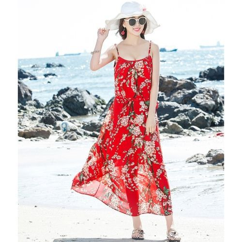 Sexy Chiffon Was Thin Suspender Dress Bohemian Seaside Holiday Long Skirt Beach Skirt