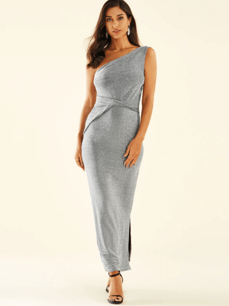 Silver Criss-cross One Shoulder Sleeveless Dress