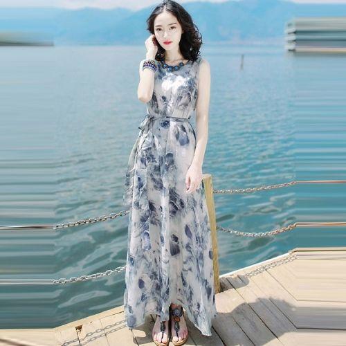 Slim-fit Sleeveless Chiffon Dress