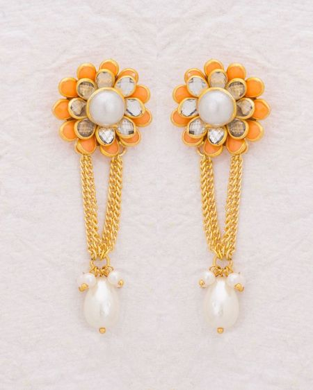 Yellow Gold Plated Orange Floral Earrings