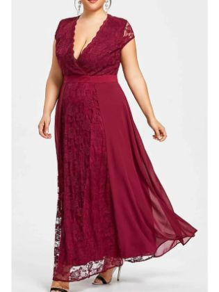 A-Line Mother of the Bride Dress Elegant Plus Size V Neck Ankle Length Chiffon Lace Short Sleeve with Ruching 2020