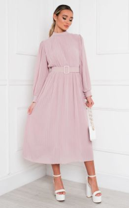 Ainslie Pleated Belted Maxi Dress in Blush