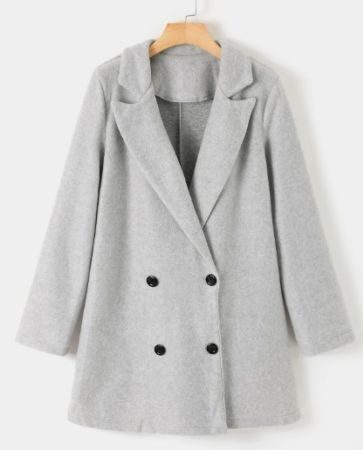 Button design Notch Collar Long Sleeves Coat