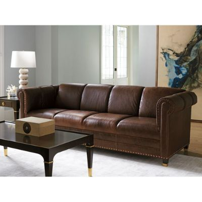 Carlyle Mahogany Springfield Leather Sofa
