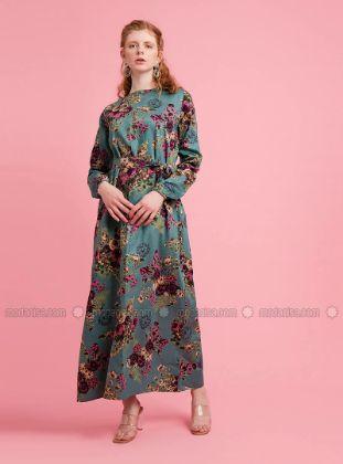 Ceylan Otantik - Plum - Plum - Floral - Multi - Crew neck - Unlined - Cotton - Dress