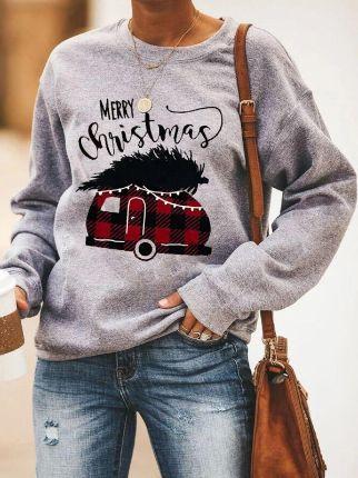 Christmas Print Crew Neck Sweatshirt