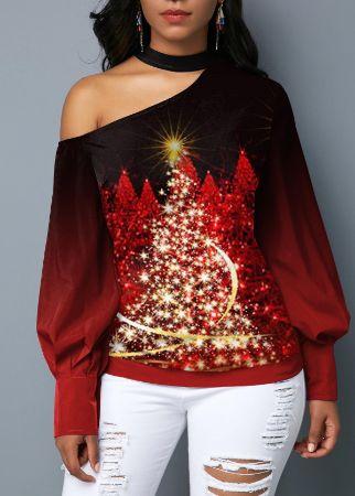 Christmas Tree Print Mock Neck T Shirt