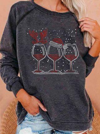 Christmas Water Cup Print Loose Sweatshirt