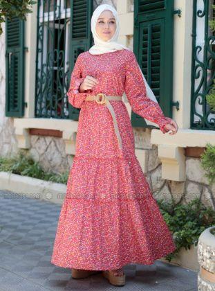 Emsale - Maroon - Floral - Crew neck - Unlined - - Dress
