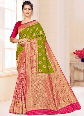 Green N Pink Benarasi Silk Half N Half Saree
