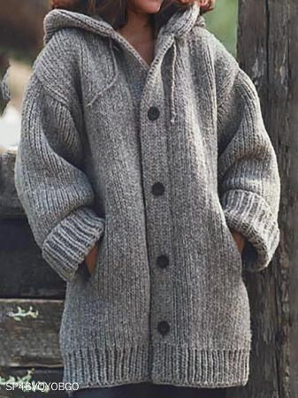 Hat Collar Plain Loose Fitting Long Sleeve Knit Cardigan