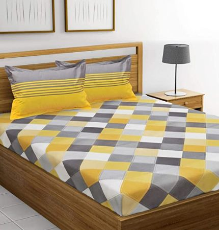Huesland Ahmedabad Cotton 144 TC 100% Cotton Double Bedsheet with 2 Pillow Covers - Yellow and Grey