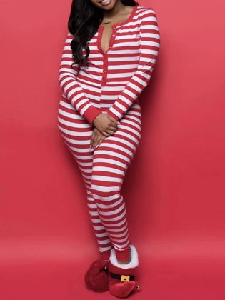 Lovely Christmas Day Striped Red One-piece Jumpsuit(Batch Striped)