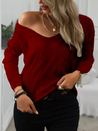 Lovely Leisure V Neck Loose Red Sweater