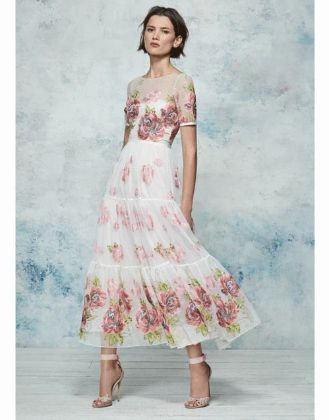 MARCHESA NOTTE - Floral Embroidered Gown