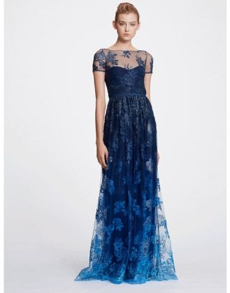MARCHESA NOTTE - Illusion Embroidered Ombre Gown