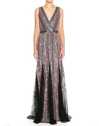 MARCHESA NOTTE - Sleeveless V-Neck Striped Sequin Gown