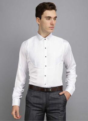 Men Kingsmode White Regular Fit Party Wear Shirt