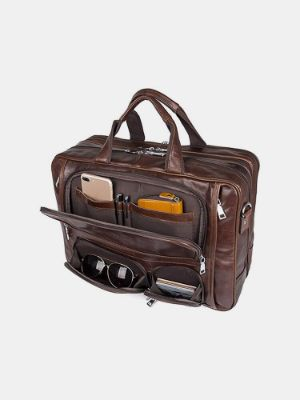 Men Multifunction Multi-pocket Waterproof 15.6 Inch Laptop Bag Briefcase Business Handbag Crossbody Bag