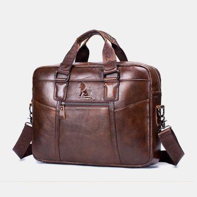 Men Waterproof Genuine Leather Business Briefcase Laptop Bag