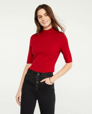 Mock Neck Elbow Sleeve Sweater