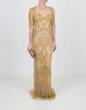 NAEEM KHAN - Illusion Neckline Embroidered Gown