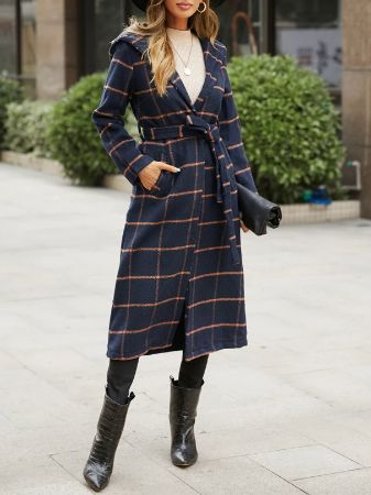 Navy Plaid Belt Design Tartan Long Sleeves Coat