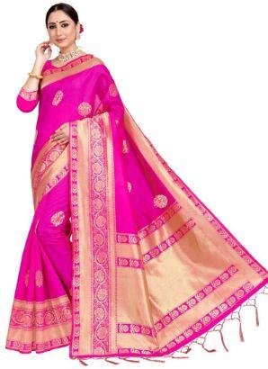Pink Benarasi Art Silk Saree III