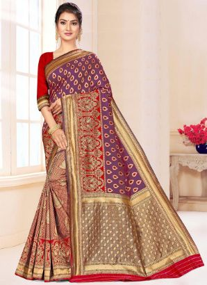 Purple N Red Benarasi Silk Half N Half Saree