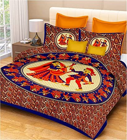 RajasthaniKart Comfort Rajasthani Jaipuri Traditional Sanganeri Print 144 TC Cotton Double Bedsheet with 2 Pillow Covers - King