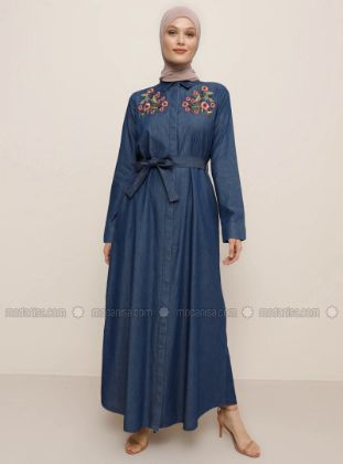 Refka - Blue - Floral - Point Collar - Unlined - Denim - - Dress
