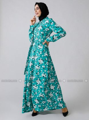 Refka - Green - Floral - Point Collar - Unlined - - Dress