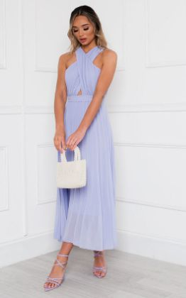 Ryanna Pleated Crossover Maxi Dress in Lilac