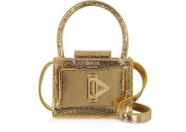 SALAR - Loulou Crackle Gold Leather Top Handle Bag