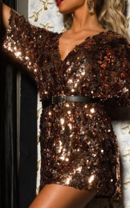 Sally Sequin Playsuit in Rose gold