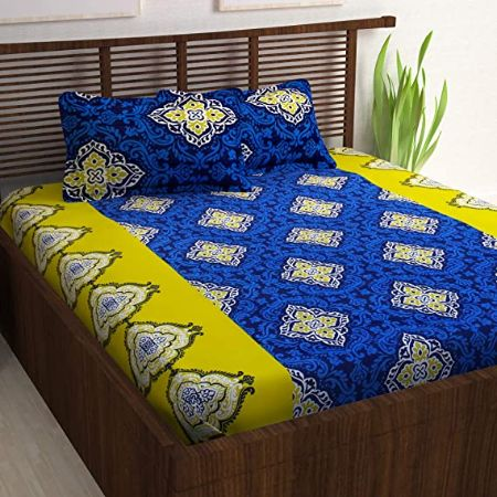 Story@Home Candy 120 TC Double Bedsheet with 2 Pillow Covers, Yellow & Blue Abstract