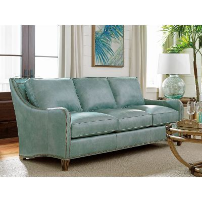 Twin Palms Green Koko Leather Sofa