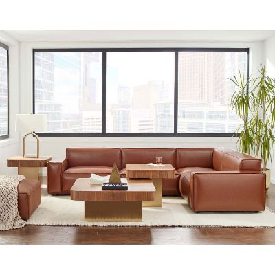 Walnut Vegan Leather Upholstered Olafur Five-Piece Modular Sectional