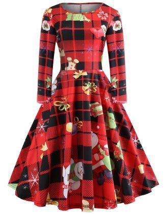 Women's Swing Dress Knee Length Dress - Long Sleeve Print Print Spring Vintage Capped 2020 Red S M L XL XXL