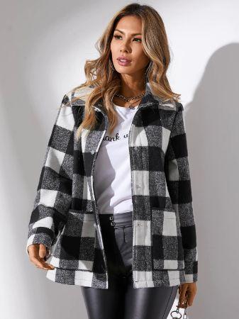 YOINS Black Plaid Two Large Pockets Long Sleeves Coat