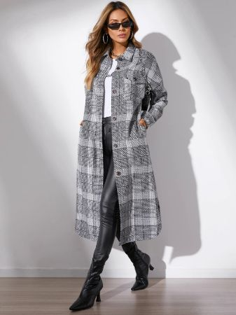 YOINS Grey Plaid Button Front Coat