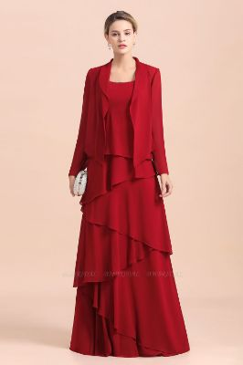 BMbridal Elegant Burgundy Chiffon Mother of the Bride Dress Ruffles With Jacket