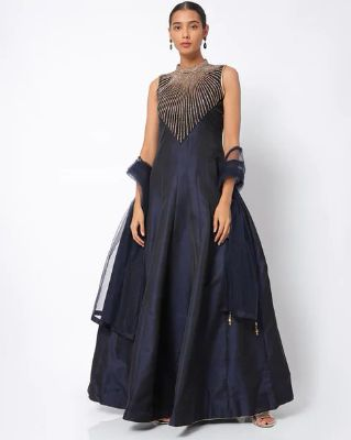 CHHABRA 555 - Embellished A-line Maxi Dress with Dupatta