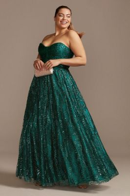 Corset Bodice Plus Size Gown with Glitter Overlay